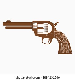 Editable Vector of Isolated Flat Monochrome Style Cowboy's Revolver Gun illustration with Brown Color for Additional Element of Wild Western Culture Related Design Project