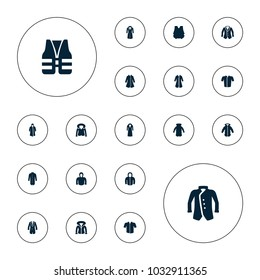 Editable vector jacket icons: overcoat, jacket, hoodie, life vest on white background.