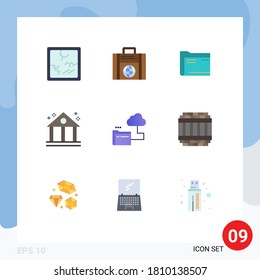 Editable Vector Line Pack of 9 Simple Flat Colors of cloud; business; archive; bank; file Editable Vector Design Elements