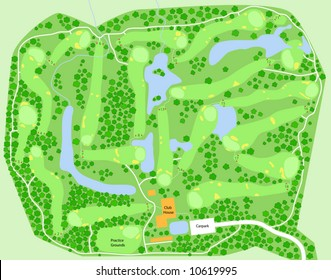 Editable vector map of a generic golf course