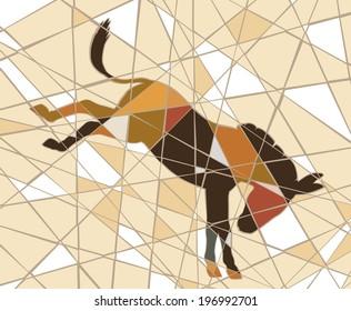 Editable vector mosaic illustration of a kicking donkey