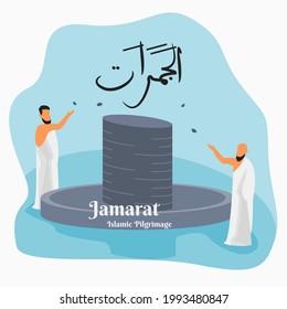 Editable Vector of Muslim Pilgrims Pelting Jamarat Stone Pillar Illustration in Flat Style for Artwork Elements of Islamic Hajj Pilgrimage Design Concept