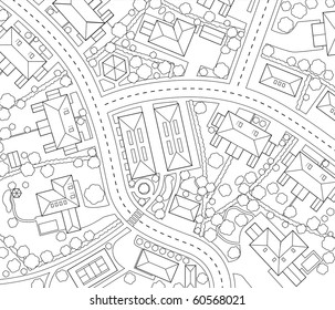 Editable vector outline map of a generic residential area