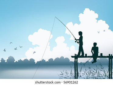 Editable vector scene of two boys fishing from a wooden jetty