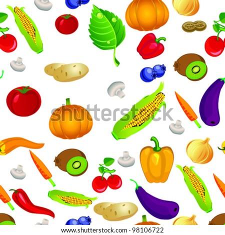 editable vector seamless fruit vegetables pattern stock vector