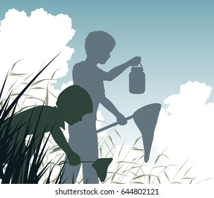 Editable vector silhouette of a boy and girl pond dipping in a wetland habitat