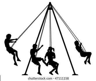 Editable vector silhouette of children on playground swings with all elements as separate objects