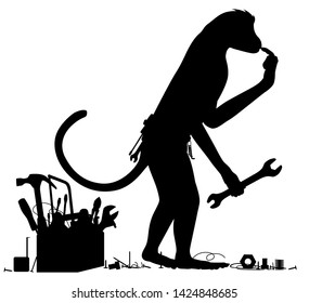 Editable vector silhouette of a confused monkey with tools