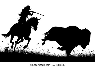 Editable vector silhouette of a cowboy on horseback chasing and about to shoot an American buffalo