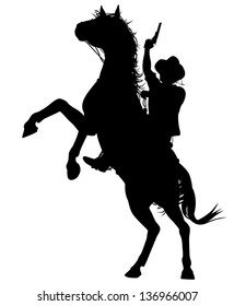 Editable vector silhouette of a cowboy shooting a pistol on a rearing horse