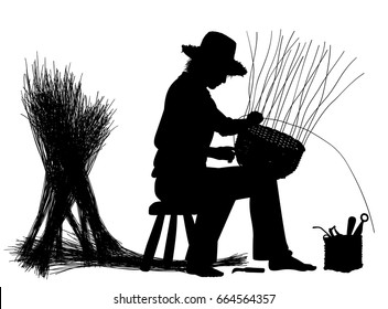 Editable vector silhouette of a craftsman making a basket with elements as separate objects