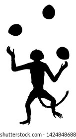 Editable vector silhouette of a dancing monkey juggling three coconuts