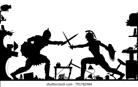 Editable vector silhouette of a domestic fight in a living room between a female and male gladiator with all objects as separate objects