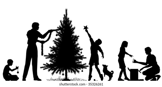 Editable vector silhouette of a family decorating a Christmas tree with all elements as separate objects