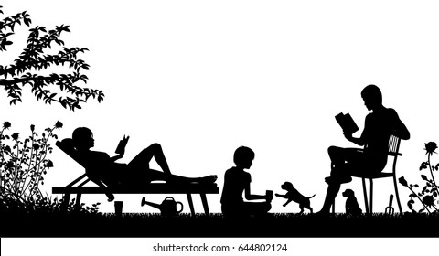 Editable vector silhouette of a family relaxing in their garden with figures as separate objects