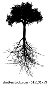 Editable vector silhouette of a generic tree with root system