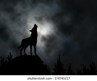 Editable vector silhouette of a howling wolf with moonlit clouds background made using a gradient mesh