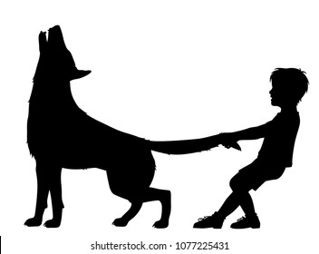 Editable vector silhouette illustration of a boy pulling the tail of a howling wolf with figures as separate objects
