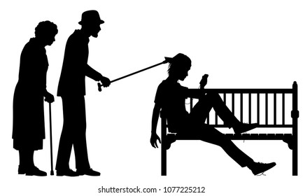 Editable vector silhouette illustration of an elderly couple poking a young man slouched on a park bench with figures as separate objects