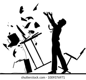 Editable vector silhouette illustration of a frustrated office worker throwing his desk over