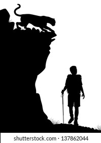 Editable vector silhouette of a lone hiker being stalked by a cougar