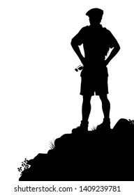 Editable vector silhouette of a male hiker standing at a viewpoint