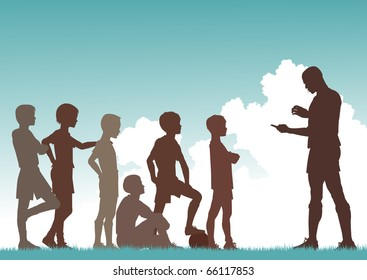Editable vector silhouette of a man coaching football to children