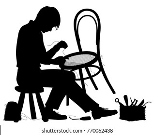 Editable vector silhouette of a man making a chair with elements as separate objects