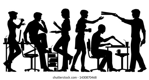 Editable vector silhouette of office workers enjoying pizza for lunch with all figures as separate objects