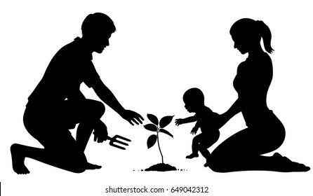 Editable vector silhouette of parents with a baby planting a tree for the future with figures as separate objects