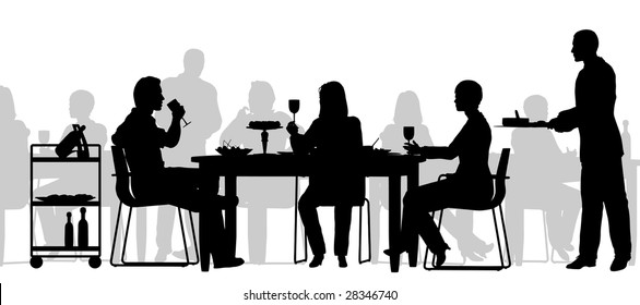 Editable vector silhouette of people eating in a restaurant with all figures as separate objects
