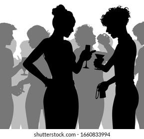 Bearbeitbare Vektorillustration Silhouette von Menschen, die sich auf einer voll besetzten Party mit allen Figuren als separate Objekte genießen