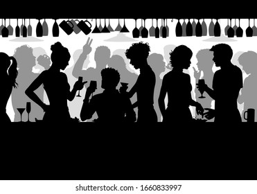 Editable vector silhouette of people enjoying themselves in a crowded bar with all elements as separate objects