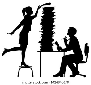 Editable vector silhouette of a secretary adding to the excessive work pile of an office worker with figures as separate objects