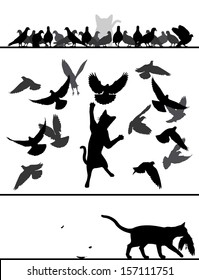 Editable vector silhouette sequence of a cat stalking and catching a pigeon from a flock