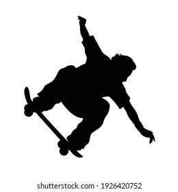 editable vector silhouette of skateboarder