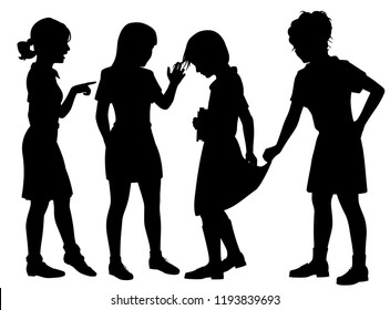 Editable vector silhouette of three girl bullies humiliating another girl