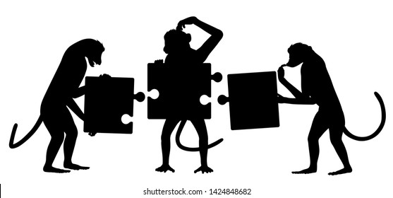 Editable vector silhouette of three monkeys struggling to put together a simple jigsaw puzzle with all elements as separate objects