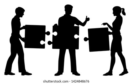 Editable vector silhouette of three people successfully putting together a simple jigsaw puzzle with figures and pieces as separate objects