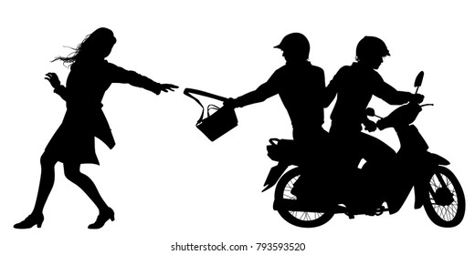 Editable vector silhouette of two men on a motorcycle stealing a handbag from a woman with figures, handbag and bike as separate objects