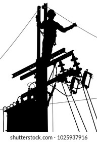 Editable vector silhouette of a utility worker at the top of an electricity pole