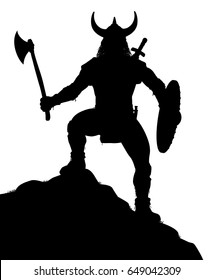 Editable vector silhouette of a viking warrior on a rocky outcrop with figure and weapons as separate objects