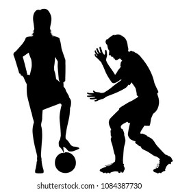 Editable vector silhouette of a woman about to puncture a manâ??s football with her stiletto heel