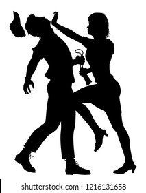 Editable vector silhouette of a woman defending herself from a man trying to snatch her bag