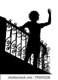 Editable vector silhouette of a woman waving from a balcony with figure as a separate object