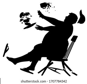 Editable vector silhouette of a wooden chair collapsing as a large man sits on it to eat a burger