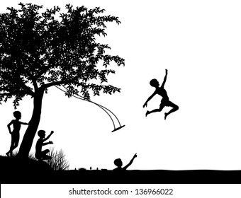 Editable vector silhouette of young boys leaping off a tree swing into a lake or river