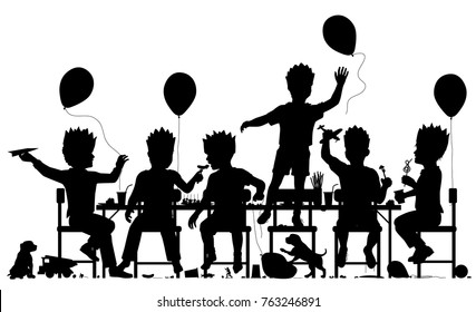 Editable vector silhouette of young boys having a lively party with all elements as separate objects