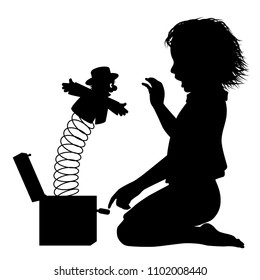 Editable vector silhouette of a young girl surprised by a jack-in-the-box toy
