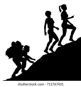 Editable vector silhouette of a young man carrying a heavy bag up a mountain for two attractive young women with figures as separate objects
